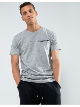 Loyalty and Faith Zip Detail T-Shirt - Grey