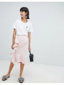 In Wear Rachelle Ruffle Front Skirt - Pink
