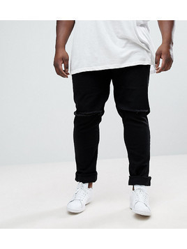 ASOS PLUS Skinny Jeans In Black With Knee Rips - Black
