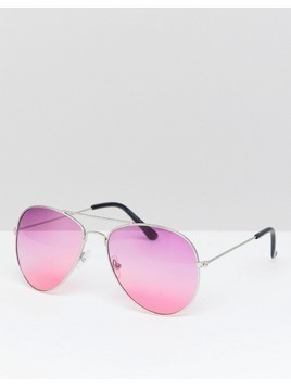 7X Aviator Sunglasses With Coloured Lens And Brow Bar - Purple