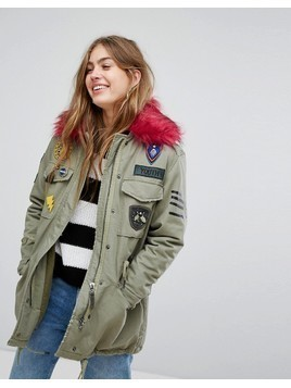 Bershka Badge And Patch Detail Parka - Green