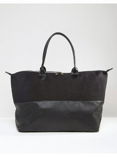 Mi-Pac Canvas&Tumbled Faux Leather Contrast Weekender - Black