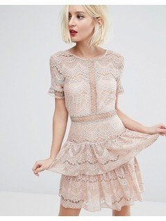 River Island Lace Tiered Dress - Brown