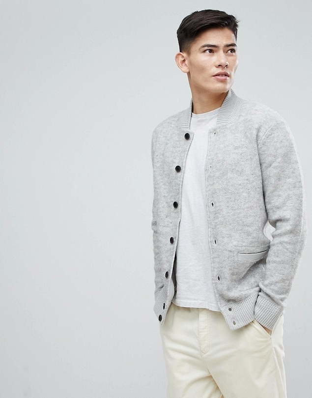 Esprit Wool Bomber With Chunky Rib - Grey