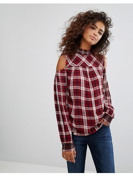 Esprit Cold Shoulder Checked Top - Multi