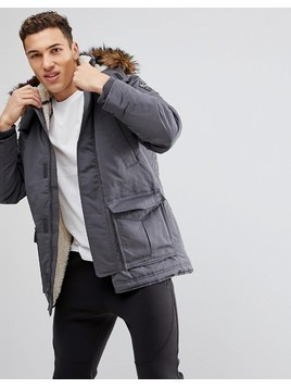Hollister All Weather Parka Jacket Faux Fur Hood in Grey - Grey