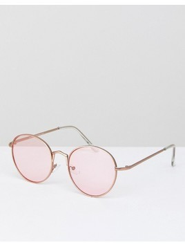 AJ Morgan Round Sunglasses With Pink Lens - Silver