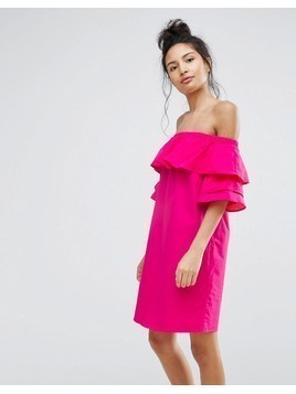 Bershka Off The Shoulder Double Frill Dress - Pink