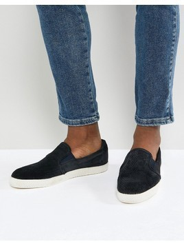 Base London Clipper Suede Espadrille Slip Ons In Navy - Navy