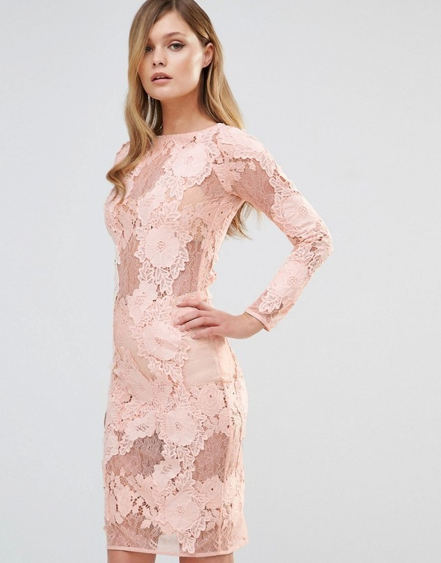 Dark Pink Long Sleeved Lace Midi Dress - Pink