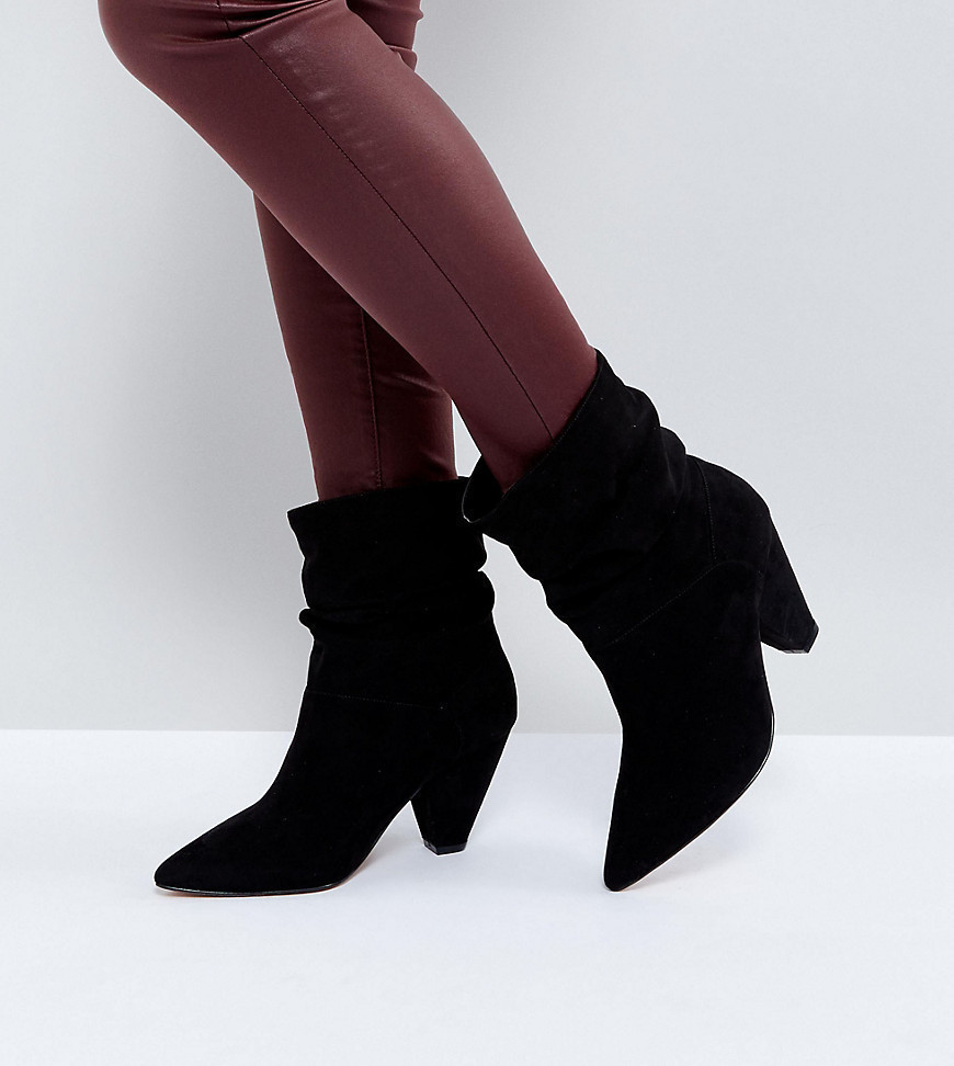 ASOS REEVES Wide Fit Slouch Heeled Ankle Boots - Black