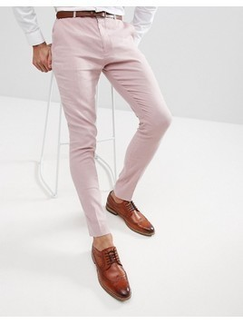 ASOS Wedding Super Skinny Smart Trousers In Pink Linen - Pink
