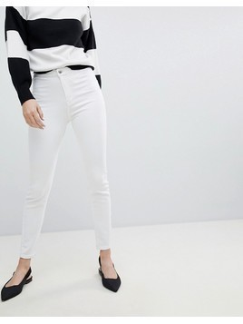 Bershka Skinny High Waist Jeggings - White