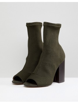 ASOS DESIGN Even Knit Peep Toe Heeled Boots - Green