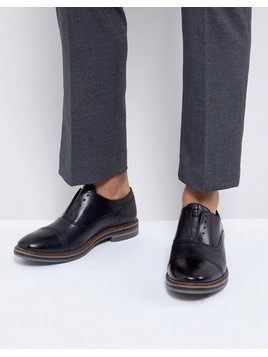 Base London Harvey Leather Laceless Oxford Shoes in Black - Black