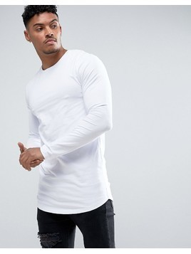 ASOS Super Longline Muscle Long Sleeve T-Shirt With Curved Hem In White - White