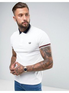 Fred Perry Slim Fit Textured Polo With Contrast Collar In White - White