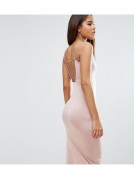 ASOS TALL Slinky Midi Dress With Strappy Tie Back - Pink