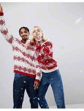 ASOS Christmas Jumper With Snowflake and Tree - Multi