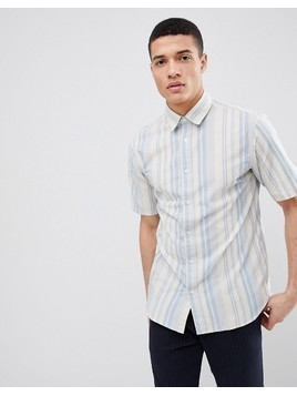 Selected Homme Short Sleeve Shirt With Vertical Stripe - Blue