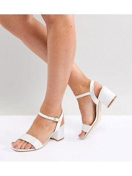 London Rebel Wide Fit Bridal Block Heeled Sandals - Cream