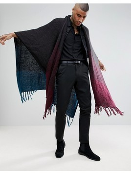 ASOS Ombre Cape In Teal And Burgundy Fade - Multi