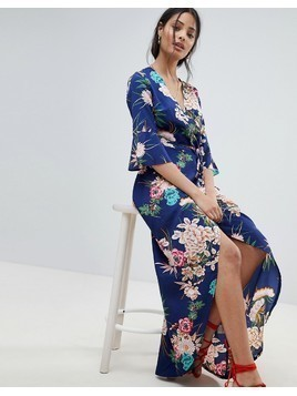 Parisian floral maxi dress with wrap front - Blue