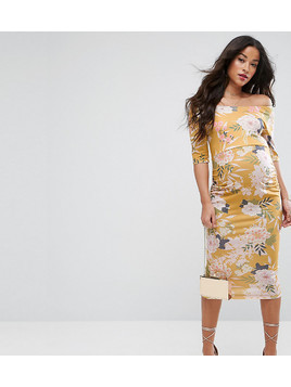ASOS Maternity TALL Bardot Dress with Half Sleeve in Yellow Base Floral Print - Multi