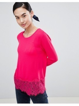Only Lilo Top with Lace Trim - Pink