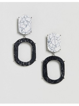ASOS Design Marble Effect Double Drop Earrings - Multi