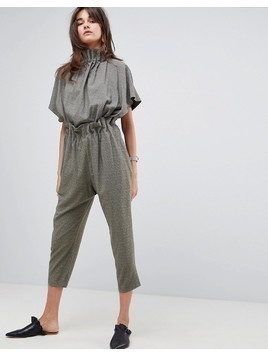 ASOS WHITE Soft Ruffle Jumpsuit in Jacquard - Green