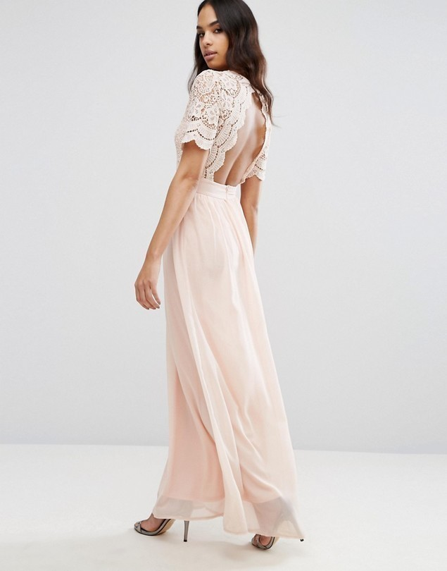 Club L Maxi Dress With Crochet Lace Detail & Cut Out Back - Pink