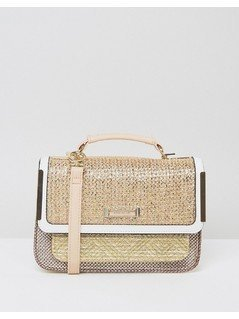 River Island Weave Mini Satchel - Beige