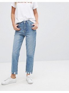 New Look Extreme Frayed Hem Mom Jeans - Blue