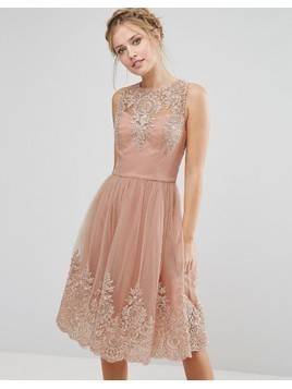 Chi Chi London Premium Lace Midi Dress with Scalloped Back - Pink