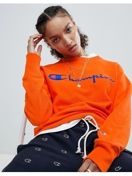 Champion Crewneck Sweatshirt With Script Chest Logo - Orange