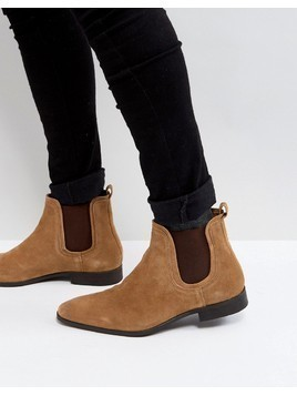 Zign Suede Chelsea Boots In Cognac - Brown