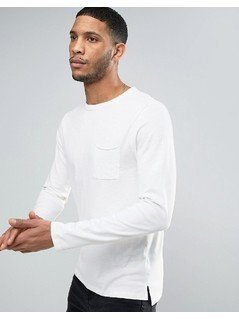 New Look Long Sleeve Slub T-Shirt In Off White - White