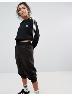 adidas Originals Black Three Stripe Cropped Chiffon Sweatshirt - Black