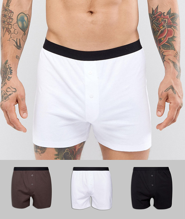 ASOS Jersey Boxers In Monochrome 3 Pack - Multi