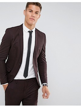 Selected Homme Super Skinny Suit Jacket In Burgundy Check - Red