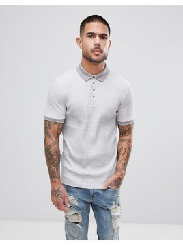 River Island Muscle Fit Rib Polo In Light Grey Marl - Grey