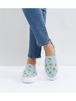 ASOS DAGO Palm Tree Embroidered Plimsolls - Blue