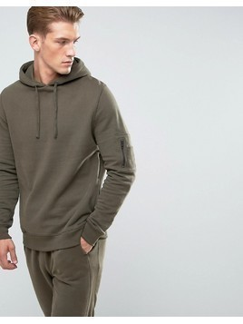 River Island Soft Feel Hoodie With MA1 Pocket In Khaki - Green