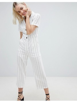 Emory Park Relaxed Jumpsuit In Fine Stripe - White