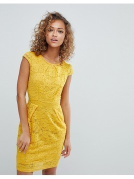 QED London Lace Tulip Dress - Yellow