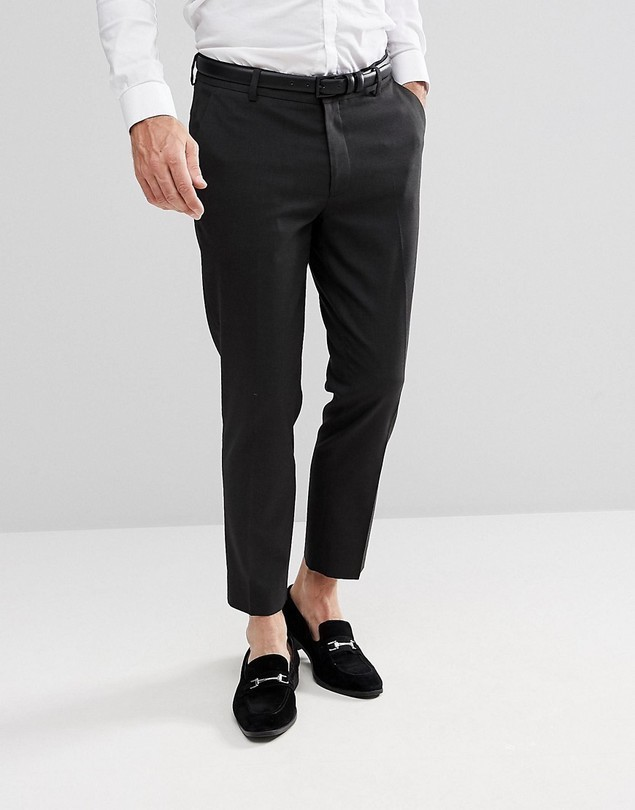 ASOS Skinny Cropped Smart Trousers In Charcoal - Grey
