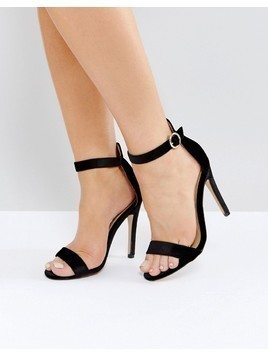Truffle Collection Round Buckle Skinny Sandal - Black