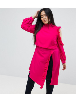 ASOS CURVE Longline Blouse with Ruffle&Button Detail - Pink