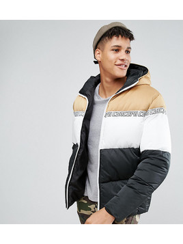 ASOS TALL Puffer Jacket With Hood in Colour Block - Multi